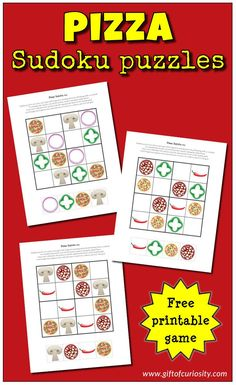 Free printable Pizza Sudoku puzzles for kids. These kid-friendly puzzles use pictures instead of numbers to give young children a fun cognitive challenge. And who doesn't love pizza for dinner? #freeprintable #sudoku #giftofcuriosity #giftofcuriosityprintables || Gift of Curiosity