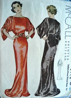 1930s McCall 8118 evening gown pattern