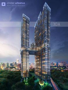 """Twin Tower Jakarta Alex Gunawan for Australia Tower Building, High Rise Building, Building Facade, Building Design, Futuristic City, Futuristic Architecture, Facade Architecture, Amazing Architecture, Future Buildings"
