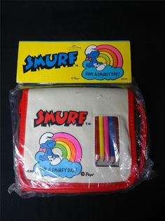 Vintage Smurf Art Purse Pencil Case Peyo 1982 in Original Package Smurfette