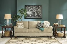 Love the way the nail head trim on the Alma Bay Sofa came out :) #AshleyFurniture