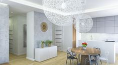 Nowoczesna jadalnia. Moooi Random. Stół Granada. Tynk dekoracyjny na ścianie.