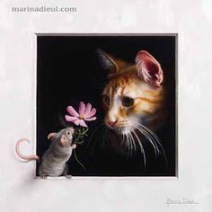 "New oil painting from my ""Pax Mundi"" series... Trompe-l'oeil of a little mouse offering a flower to a ginger cat. Nouvelle peinture à l'huile de ma série ""Pax Mundi"". Marina Dieul"