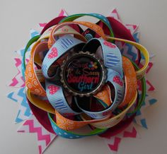 Sweet & Sassy Southern Girl Twisted Stacked Boutique Hair Bow French Barrette Ribbon Bottle Cap Handmade by KraftyKreations2014 on Etsy