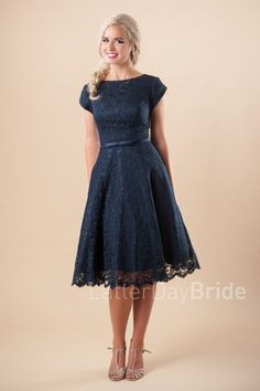 modest homecoming dresses in Salt Lake City with lace, the Jillian in tea length
