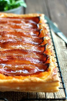 Maple Bacon Pumpkin Tart - double layer of puff pastry topped with mashed pumpkin and bacon, brushed with maple syrup. Just 10 min prep.