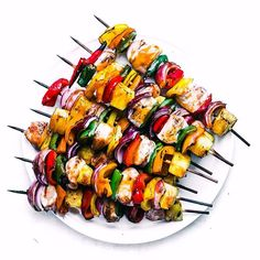 Sweet Fire Chicken Skewers ~ chicken kabobs with onions, peppers, and pineapple chunks grilled up in a sweet and spicy sauce inspired by Panda Express! Sweet Fire Chicken, Chicken Skewers, Marinade Chicken, Sweet And Spicy Sauce, Lemon Potatoes, Thing 1, Stuffed Hot Peppers, Grilling Recipes, Barbecue Recipes