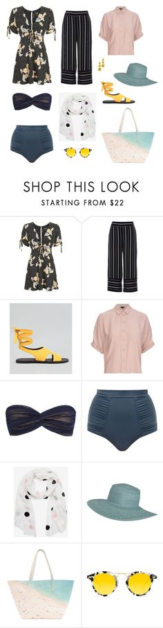 """""""Untitled #18"""" by meetminion ❤ liked on Polyvore featuring Topshop, River Island, New Look, Norma Kamali, Lilliput & Felix, Billabong, Paige Gamble, Krewe and Kenneth Jay Lane"""