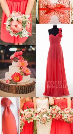 Sheath-Column One Shoulder Sweep-Brush Train Chiffon Calypso Coral Sleeveless Lace Up-Corset Prom Dresses COLT14017 #bridesmaiddresses #cocomelody