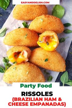 Rissoles, also known in Brazil as Risoles, are half-moon pastries that resemble empanadas. They are filled with different fillings such as ham and cheese and then breaded and deep-fried until golden brown. Simply one of the most delish appetizers you will ever have!