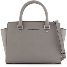 MICHAEL Michael Kors Selma Medium Top-Zip Satchel Bag ($298) ❤ liked on Polyvore featuring bags, handbags, pearl gray, satchel purse, grey handbags, gray satchel, zipper purse and monogram purse