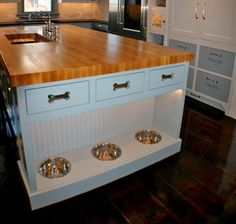 Some of the more common requests include retractable dog dishes built into base cabinets, pet showers and mechanized doggie doors