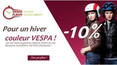 Atelierdeuxroues.com vous propose de profiter de sa toute dernière vente flash spéciale Lifestyle VESPA pour redonner des couleurs et du style à vos tenues. -10% pendant 3 jours jusqu'au 13/11 minuit. http://www.atelierdeuxroues.com/index.php?fc=module&module=flashsalepro&controller=flashSaleProducts&flashSaleId=27