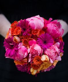 Bridal Bouquet of the Week:  Vibrant Summer Flowers in Tangerine, Orange, Coral, Cerise and Magenta By Evantine Design Blog