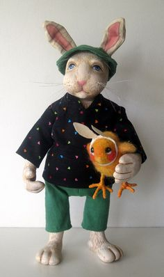 Rabbit & Baby Chick OOAK art doll mixed media by appleart on Etsy, $135.00 - Created by Linda Apple