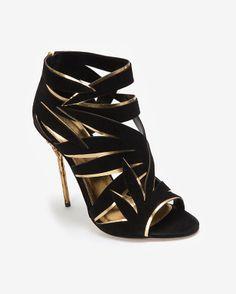 1af2ad391a99 Sergio Rossi Leaf Cut Out Suede Sandal  Black Black Suede Shoes