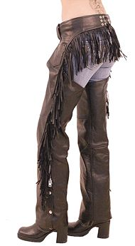 Womens Leather Chaps with Rear Fringe