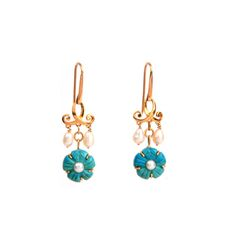 #Pearl & #Turquoise Hook #earring - carved turquoise florets and pearl drops in an engaging 18k gold pattern.