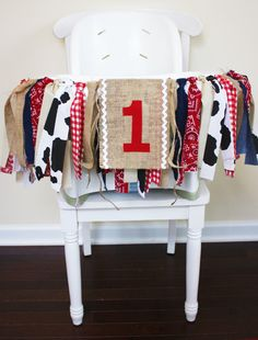 Cowboy Cowgirl Birthday Party High Chair Banner by MyLittleBoobug