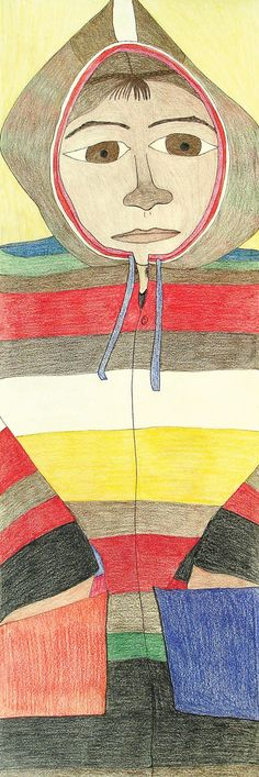 Shuvinai Ashoona, Composition (This Is My Coat of Many Colours), ink and coloured pencil on paper, x 33 cm, collection of Edward J. Coat Of Many Colors, Canadian Art, Detailed Drawings, Colored Pencils, Surrealism, Book Art, Composition, Kids Rugs, Colours