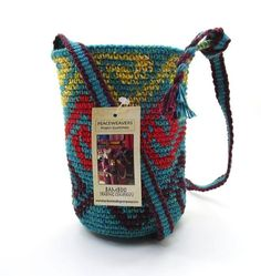 BOHEMIAN CROCHETED BAG SMALL BUCKET BAG WAVES in TURQUOISE DESIGN ~ NEW #BambooTradingCo #Bucket