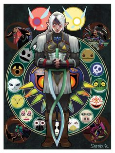 Fierce Deity Link, Tael and Tatl the fairies, surrounded by some of the masks, and the bosses - The Legend of Zelda: Majora's Mask