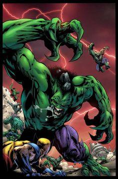 #Hulk #2099 #Fan #Art. (Hulk 2099 Vs Wolverine) By: Paul Pelletier. (THE * 3 * STÅR * ÅWARD OF: AW YEAH, IT'S MAJOR ÅWESOMENESS!!!™) [THANK U 4 PINNING!!!<·><]<©>ÅÅÅ+(OB4E)