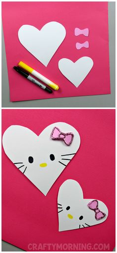Make heart shaped hello kitty valentine crafts with the kids! Cute art project idea for valentines day. (heart shape animal craft)