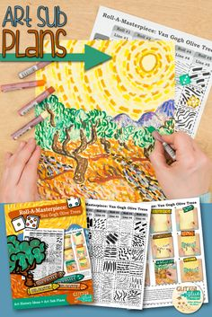 "Teach your students about line variety while studying Vincent Van Gogh and his famous ""Olive Trees"" painting. This art lesson is great for kids in 4th grade and up and takes two, 40 minutes periods to complete. The best part? It's created with a roll of the dice. Come see for yourself! 