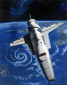 2001 - detail  | Orion III shuttle | Art by Peter Elson