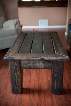 Pallet Table for Your Perfect Morning Coffee. Pallet table as recycled products are competitive and unique. As the environment changes, recycling becomes one of the most desirable items because . Barn Wood Projects, Diy Pallet Projects, Pallet Ideas, Pallet Furniture, Rustic Furniture, Outdoor Furniture, Backyard Furniture, Reclaimed Wood Furniture, Wood Wood