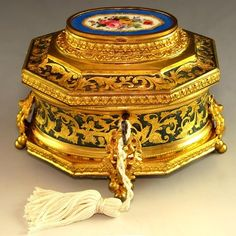 ANTIQUE FRENCH 19th century GILT BRONZE ORMOLU ENAMEL SEVRES STYLE JEWELRY CASKET /