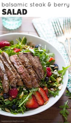 Strawberry Arugula Salad with Steak & Balsamic Vinaigrette | Sweet Pea and Saffron