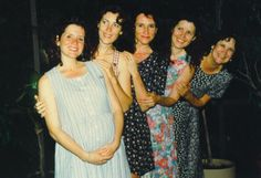 Mady's in my belly with sisters Liz, Joan, Cindy & Mama 1996
