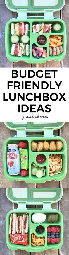 Budget friendly lunch ideas | Easy bento box for kids | Frugal meal ideas for kids | No recipe needed - simple + cheap lunchbox ideas | GinaKirk.com @ginaekirk
