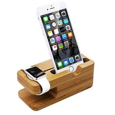 awesome [2 in 1] Bamboo Apple Watch Stand & Cell Phone Charging Station Bamboo iWatch Cradle Holder [2015 New Version] iPhone Charging Docks/Stands Apple Watch Charger Stand Apple Watch Stand Wooden Watch Stand Apple Stand Wooden Stand Accessories Station Apple Watch Charging Dock Holder Stand Bamboo Platform For iWatch iPhone S6 S5 S4 NOTE 4 3 Google Nexeus and Most Cell phones (88mm*14mm Holder)