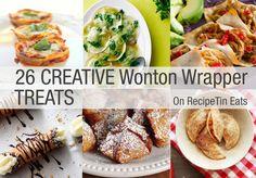 RecipeTin Eats: 26 Wonton Wrapper Treats RoundUp from various recipe sources. Wonton Recipes, Appetizer Recipes, Snack Recipes, Cooking Recipes, Potluck Appetizers, Wanton Wrapper Recipes, Easy Potluck Recipes, Potluck Ideas, Sandwich Recipes