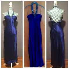 Cache Royal Blue Floor Length Evening Dress It's in good condition!! There is an imperfection on the front but it's still a gorgeous dress!! There is 1 bead missing & 2 are coming off in the back & they are shown in the pictures & they aren't that noticeable!! The is truly stunning! The 100% silk material & neckline make this dress so beyond elegant! Has a built in bra! The strap portion of the bra within the dress but I don't think that changes too much but I thought I would mention it…