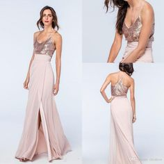 2017 Newest Chiffon Sexy Spaghetti Straps Side Split Blush Long Bridesmaid Dresses Top Rose Gold Sequins V-neck Wedding Guest Gowns 2018 from ekishow, $101.55 | DHgate Mobile