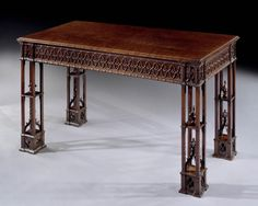 """A George III Gothic Revival Mahogany Side Table After A Design By Thomas Chippendale Ca1760 English. 33.25""""H x 25.75""""W x 31""""D."""