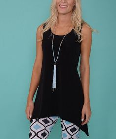 Another great find on #zulily! Black Sleeveless Sidetail Tunic - Plus Too #zulilyfinds