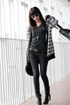 skull sweater and black shirt, pants