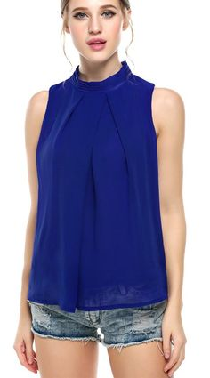 Halife Women's Casual Pleated Front Sleeveless High Neck Chiffon Blouse Tops (M, Blue)