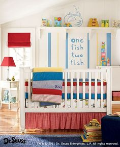Dr. Seuss  Nursery - love this bedding. Found when searching for school ideas. Super cute! Megan is this the one you are using for Oliver? Baby Boy Rooms, Baby Boy Nursery Themes, Baby Boy Nurseries, Baby Decor, Babies Nursery, Baby Theme, Baby Bedroom, Kids Decor, Kids Bedroom