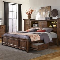 Wolf Creek Queen Bookcase Bed with Storage by Intercon