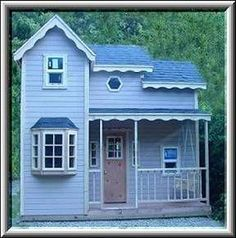 Cottage kits for childrens backyard play place. cottage kit is an 8 x 12 two story playhouse Outside Playhouse, Backyard Playhouse, Build A Playhouse, Outdoor Playhouses, Childs Playhouse, Playhouse Ideas, Outdoor Play Structures, Outdoor Buildings, Cottage Kits