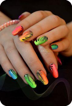 Miami beach nails unhas coloridas, adesivos de unhas, ideias para unhas, un Nail Art Designs, Short Nail Designs, Nails Design, Orange Nail Art, Orange Nails, Neon Nails, My Nails, Nails Factory, Design Ongles Courts