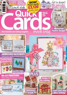 In this issue;    FREE festive pop-up box card kit - make and send 4 Christmas cards today!    WOW! Prizes worth £3,120 - enter now! (UK only)    106 card ideas plus 8 Scandi bonus papers!    Get in shape! Try our easy bauble cards    Glamorous festive designs    Airbrushed backdrops - Give your cards a frosty finish    Inlaid embossing - New ideas for festive makes    Budget makes and expert quick fix tips!    PLUS - Christmas trends, stylish die cutting, craft your own place setting!
