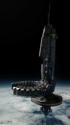 """Dark Matter"" concept art by Jeff Bartzis Spaceship Art, Spaceship Design, Spaceship Concept, Concept Ships, Concept Art Sci Fi, Concept Art Landscape, Fantasy Landscape, Cyberpunk, Arte Sci Fi"