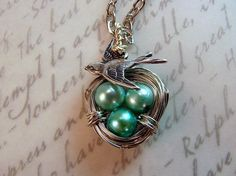 Mother and Baby Boys Robins Egg Nest Necklace by oftheearthjewelry, $20.00